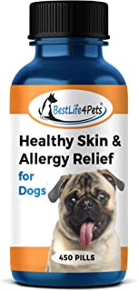 Healthy Skin and Allergy Relief for Dogs - All-Natural Supplement to Relieve and Treat Pet Allergies - Strengthen and Improve Immune System - Prevent Itching, Infection and Fur Shedding (450 pills)