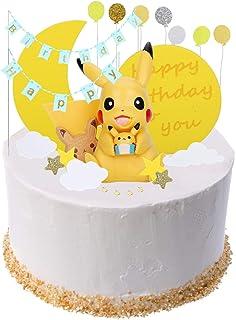 Colmanda Cake Topper Kit, Pokemon Cupcak Toppers Decoración Tarta de Cumpleaños Decoración De Pastel con Muñeca Pikachu para Pastel Fiesta Boda y Cumplea