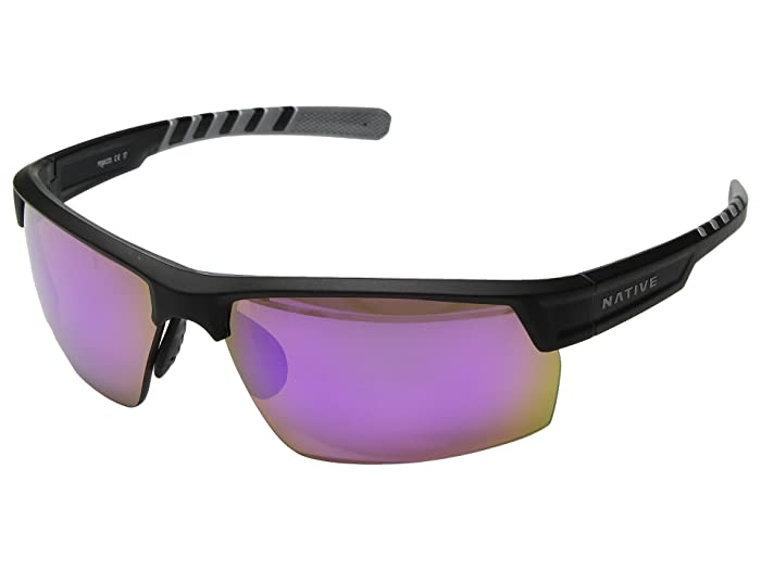 Native Eyewear Catamount (Matte Black/Crystal/Violet Reflex Polarized Lens) Athletic Performance Sport Sunglasses