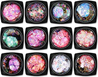 Ktyssp Multifunctional 12 Color Nail Sequins Eye Makeup Patch Body Art Nail Hair Face Eye Shadow Body Makeup