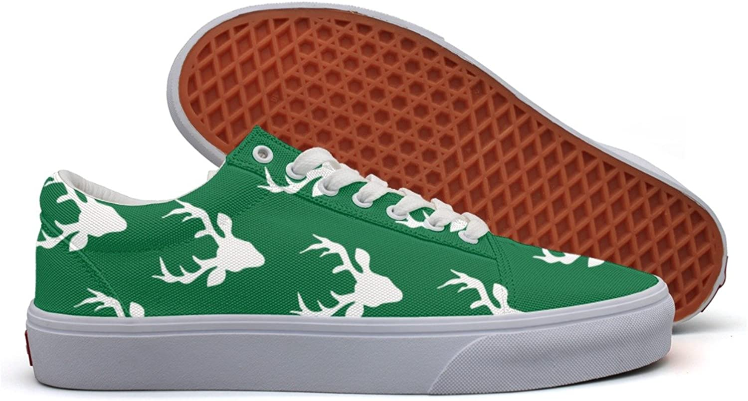 Christmas Forest Moose Womens Flat Canvas Deck shoes Low Top Comfortable Sneaker For Women's