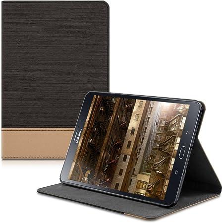 kwmobile Funda Compatible con Samsung Galaxy Tab S2 8.0 -Carcasa de Tela para Tablet con Soporte en Negro/marrón