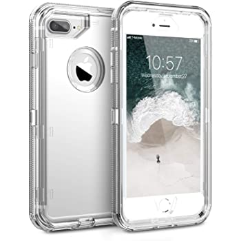 ORIbox iPhone 8 Plus Case & iPhone 7 Plus Case for Women & Men, Heavy Duty Shockproof Anti-Fall case, More Suitable for People with Big Hands, Crystal Clear