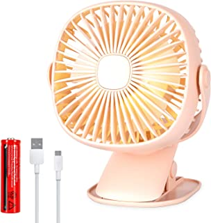 USB Powered Fans for Baby Stroller with LED Light, Clip Desk Portable Fan with 3 Speed and Rechargeable Battery,Super Quite Operation and Powerful Airflow for Baby Stroller,Home,Camping,6 Inch,Pink