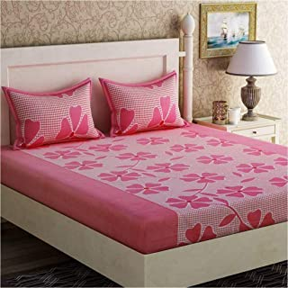 PRIDHI 180TC Polly Cotton Double Bedsheet with 2 Pillow Cover Rajasthani Design19