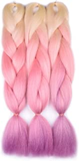 blonde and pink ombre braiding hair