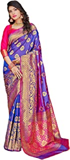 بلوزة ساري متعددة الألوان للنساء الهندية التقليدية من نسيج حريري ناعم بلون متباين 5799