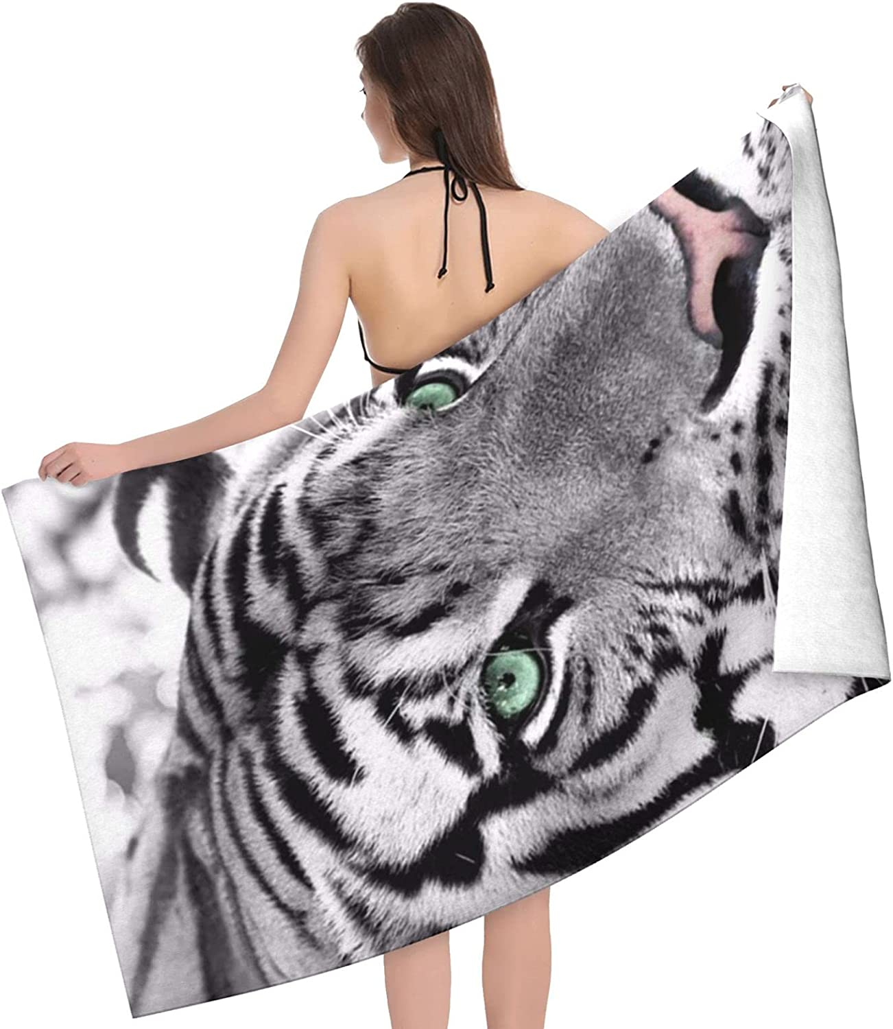 Black White Tiger Print Adult Towels Double - Beach Super Special SALE 35% OFF held Towel