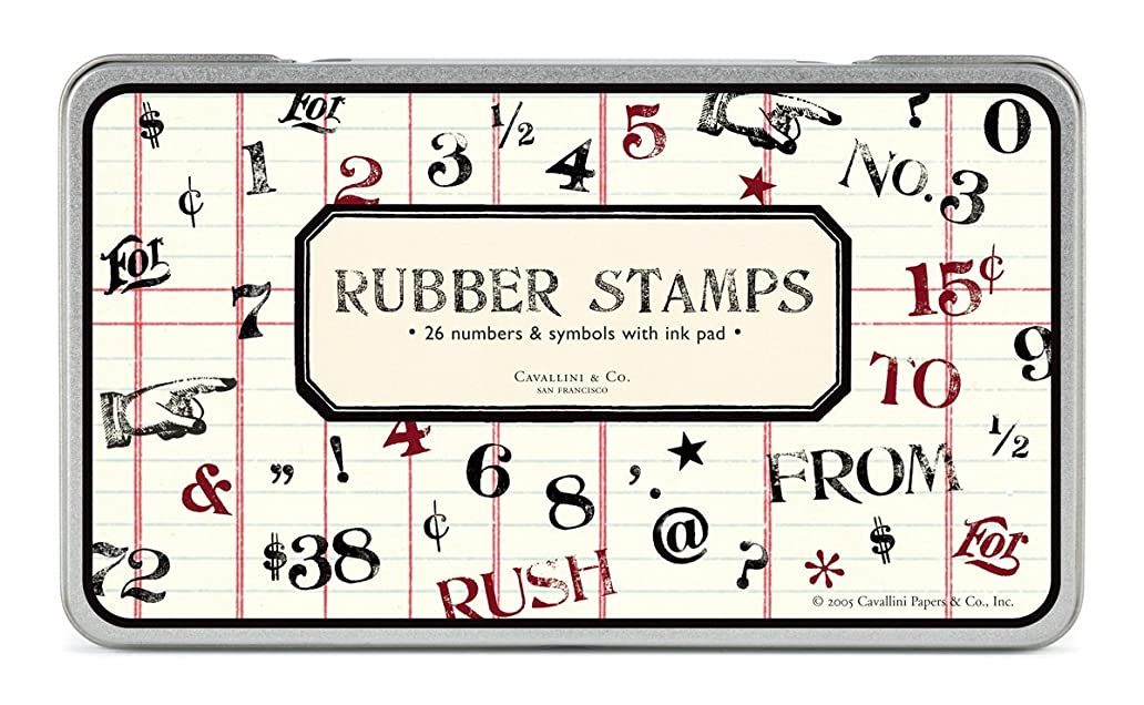 Cavallini Rubber Stamps Numbers & Symbols, Assorted with Ink Pad ojc1812513