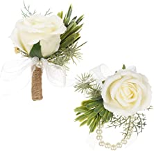 DearHouse 2Pcs Boutonniere Buttonholes and Wrist Corsage Wristband Roses Wrist Corsage, Groom Groomsman Best Man and Girl Brides Rose Wedding Flowers Accessories Prom Suit Decoration