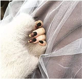 24pcs/Set Punk Fire Pattern Matte False Nails Dark Black Pre-Design Short Round Head Full Cover Nail Tips Fnished Nail Art (Color : 539)