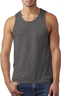 Men's Rib-Knit Fitted Tank Top, Dark Heather Gray, Medium