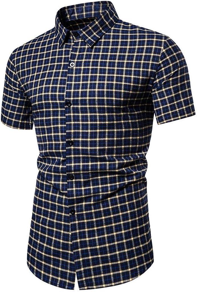 MODOQO Men's Button Down Short Sleeve Plaid Shirt for Summer