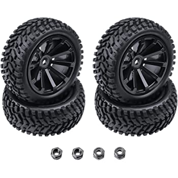 Hobbypark 4-Pack OD 2.99 inch / 76mm Rubber RC Car Tires & Wheel Rims Foam Inserts 12mm Hex Hub