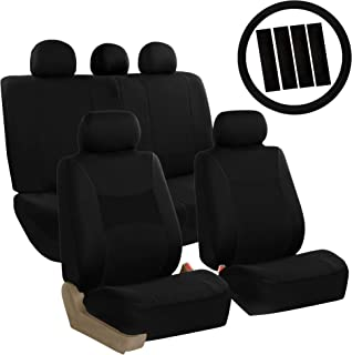 FH Group FB030BLACK115-COMBO Seat Cover Combo Set with Steering Wheel Cover and Seat Belt Pad (Airbag Compatible and Split Bench Black)