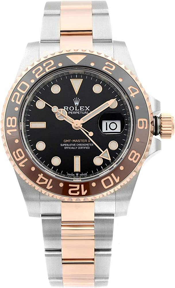Rolex orologio automatico da uomo,modello gmt-master ii, in acciaio e oro rosa 18 ct Rolex