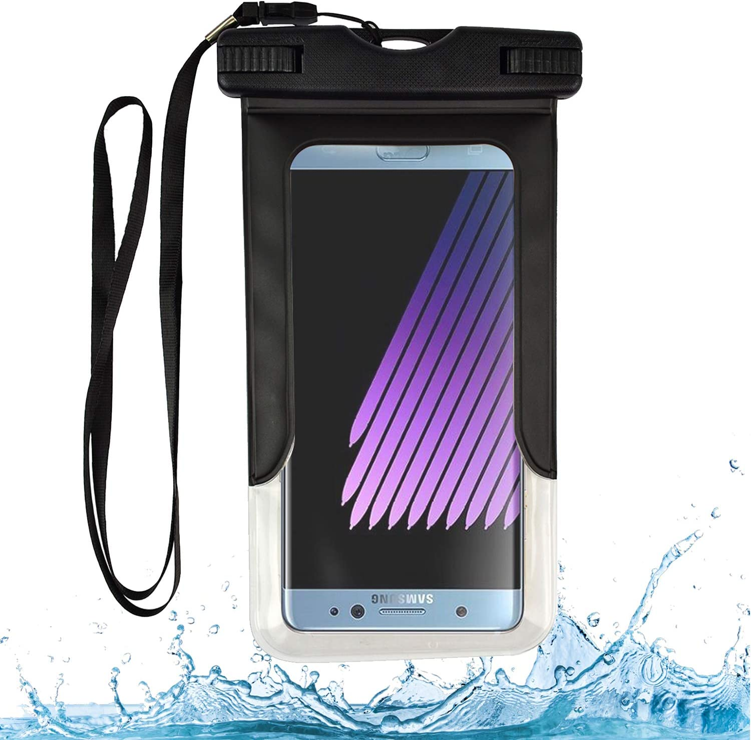 Black Waterproof Cell Phone Dry Bag Pouch Compatible with Motorola Moto E7, G9 Play, G Pro, E E6s 2020, One Fusion+, G Fast, G8, Edge+