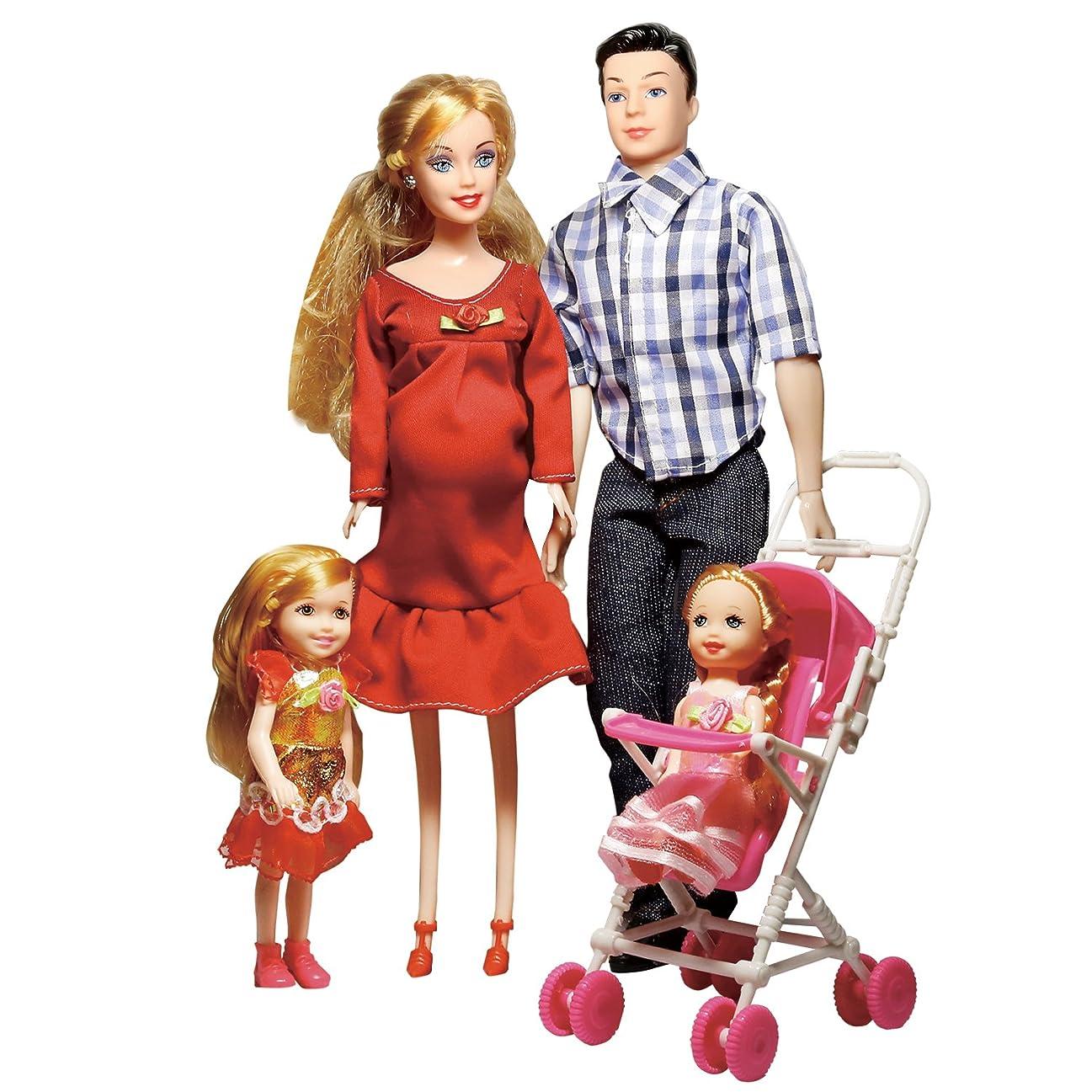 ブランデー歪める提供Toys Family of 5 People Baby Dolls Suits with Real Pregnant 1 Mom 1 Dad 2 Little Girls 1 Baby Son 1 Baby Carriage