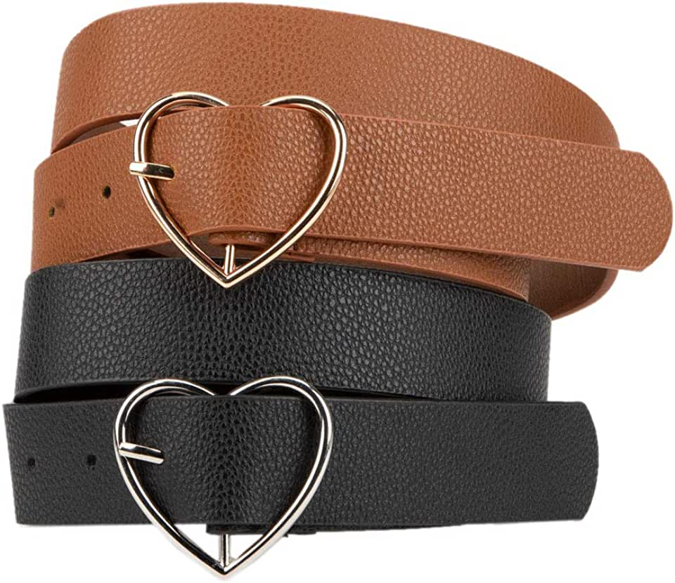 FULL TILT 2 Pack Heart Buckle Belts