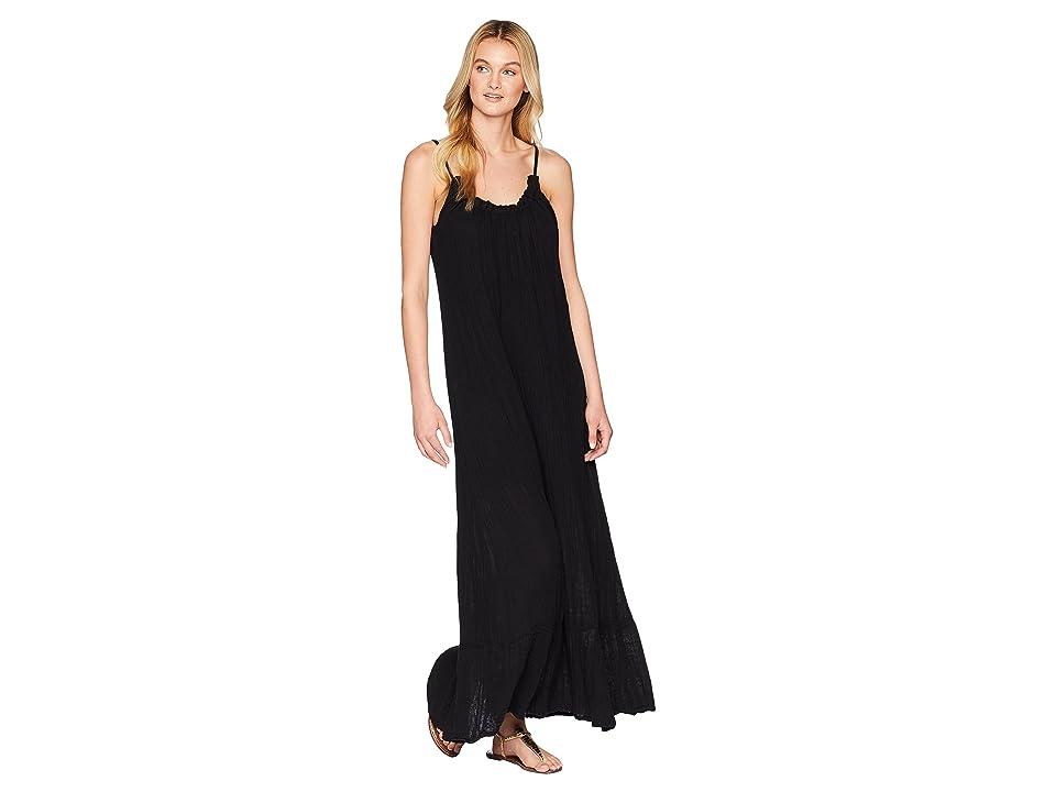Michael Stars Double Gauze Front To Back Maxi Dress (Black) Women