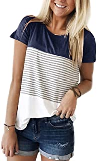 Glomeen Women's Long Sleeve Tops Round Neck Color Block Stripe T-Shirts Casual Blouses