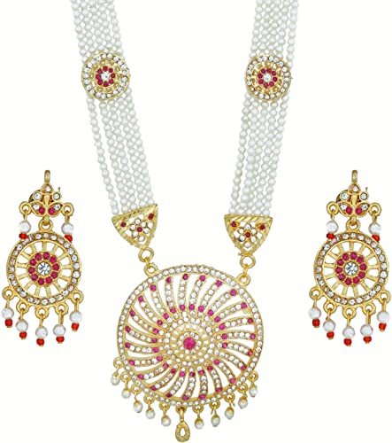 Women S Traditional Gold Plated Pearl American Diamond Work Long Set Rani Haar White
