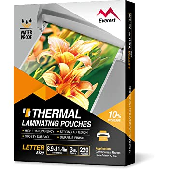Everest Thermal Laminating Pouches, 8.9 x 11.4 Inches, 3 Mil Thick, 220 - Pack, Letter Size Sheets, Clear(TH0300-02)