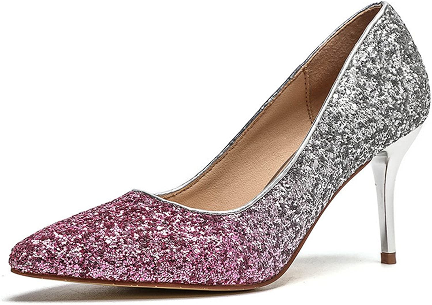 Gusha Fashion Ladies Pointed High Heels Classic Sequin Party Prom Stilettos
