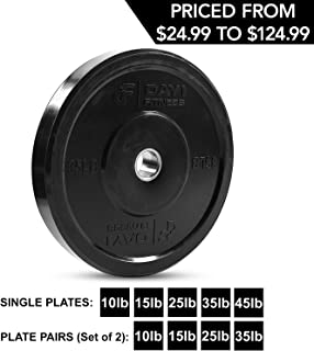 """Day 1 Fitness Olympic Bumper Weighted Plate 2"""" for Barbells, Bars – 10 lb Single Plate - Shock-Absorbing, Minimal Bounce Steel Weights with Bumpers for Lifting, Strength Training, and Working Out"""