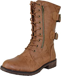 Womens Mango Round Toe Military Lace up Knit Ankle Cuff Low Heel Vegan Combat Boots