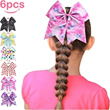 Cheer Bows, ESILIA Girl Bow Hair Bands, 6pcs 8'' Large Hair Ties Hair Bows for Girls Cheerleading Hand-made Grosgrain Ribbon Elastic Ponytail Bow with Baby Girl Gifts Package for Women Girl Kid