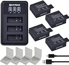 Batmax 4Packs SJ4000 Battery + LED 3-Slots USB Charger for SJCAM SJ4000 SJ5000 Battery; EKEN M10 4K H8 H9 GIT-LB101 GIT PG900 1080P and 4K Action Cameras