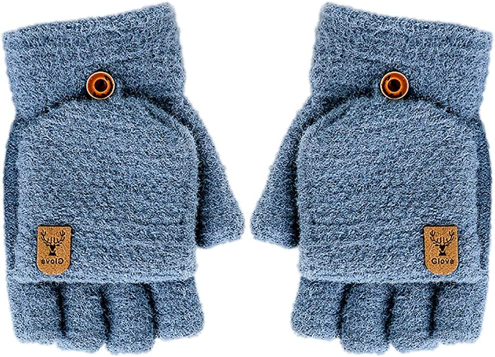 Licogel Men Winter Gloves Cute Warm Flip Top Gloves Fingerless Gloves with Mitten Cover Cozy Thermal Simple Texting Boy