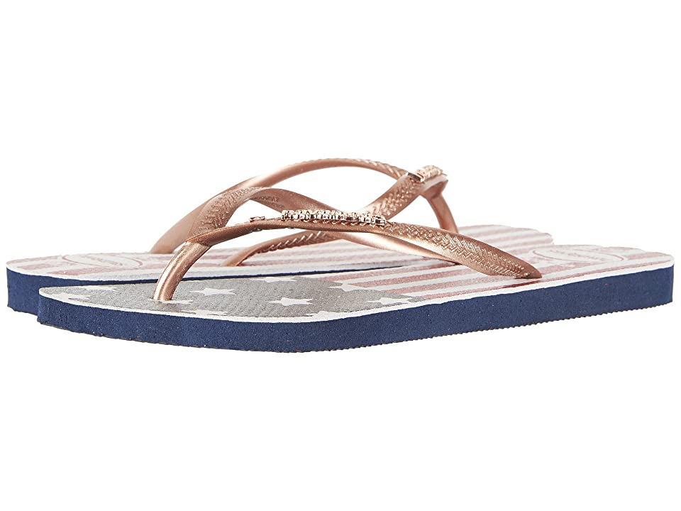 Havaianas Slim USA Glitter Flip-Flops (Navy Blue) Women