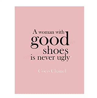 "CoCo Chanel Quotes Wall Art- ""A Woman with Good Shoes is Never Ugly""- 8 x 10"".."