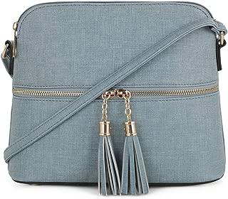 Lightweight Medium Dome Crossbody Bag with Tassel | Denim Inspired Texture PU Leather