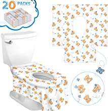 Travel Toilet Seat Covers, XXL Potty Training Cover 20 Packs Disposable Potty Protectors with 2 Non-Slip Stickers Portable Waterproof Liner Soft Surface