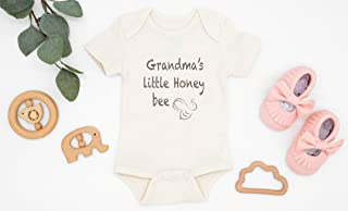 Grandma's Little Honey Bee Organic Cotton Baby Bodysuit, Save The Bees Infant Romper, I Love Grandma Outfit, Eco Friendly Baby Shower Gift