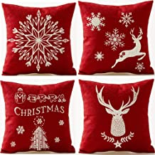onech Merry Christmas Happy Holiday Snowflake Sika Deer Tree Snowman Pentagram Geometry Best Gift Square Pillowcase Cushion Cover Cotton Linen Pillow Case 18X 18 for Family