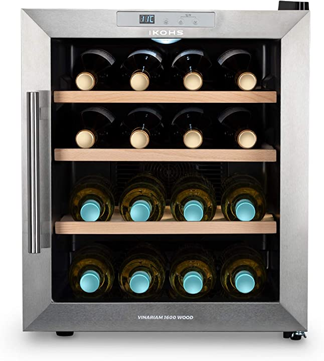 Cantinetta da 16 bottiglie, 46 l, 70 w, luce led, display digitale, 3 ripiani create ikohs winecooler wood l B088FNRK9P