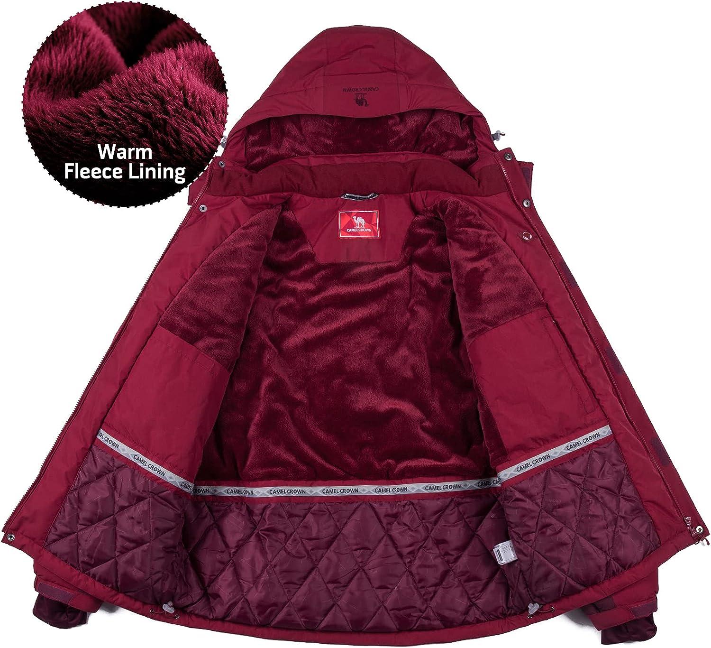 CAMEL CROWN Men's Mountain Snow Waterproof Ski Jacket Detachable Hood Windproof Fleece Parka Rain Jacket Winter Coat : Sports & Outdoors