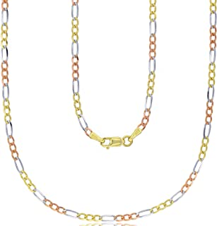 14K Gold Solid Tricolor 2mm-8mm Pave Figaro Link Chain Necklace with Lobster Claw Clasp | Italian Gold Necklaces | Pave Figaro Link Chain Necklace