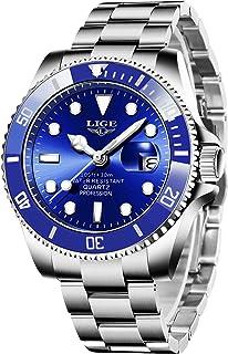 LIGE Montre Homme Analogique Quartz Lumineuses Étanche Chronographe Acier Inoxydable Bracelets Date Classique Montre