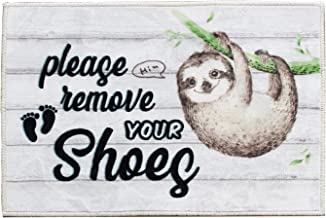Sloth Please Remove Your Shoes Funny Doormat Mat Flannel Rug for Front Entrance Indoor Outdoor Bedroom - Non Slip Back Doo...