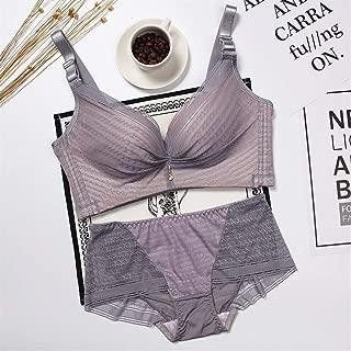 SHENTIANWEI High-end lingerie female plover breathable bra no rims gather adjustable bra suit Bohou (Color : Light purple suit, Size : 95C)