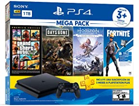 Paquete PlayStation 4 Slim 1 TB (Mega Pack) con 3 juegos (Horizon Zero Dawn, Days Gone, Grand Theft Auto V), FORTNITE Vouc...