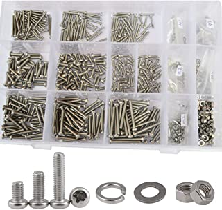 M2 M3 Pan Round Head Machine Screw Phillips Cross Round Metric Threaded Bolts Nuts Flat Lock Washer Standard Fastener Hardware Assortment Kit 304Stainless Steel,800Pcs