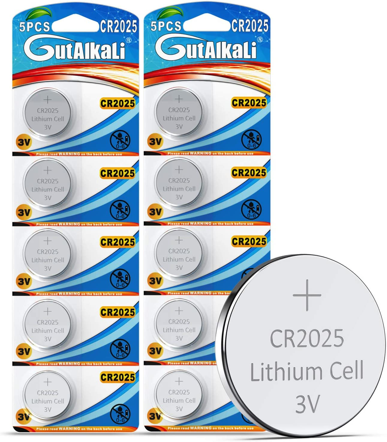 car remote key GutAlkaLi CR2025 3V Lithium Coin Cell Battery 10 Pack Mercury-free household /ítems Long Life Strong Power 3 Volt Lithium Flat Batteries for electronic devices; Watch