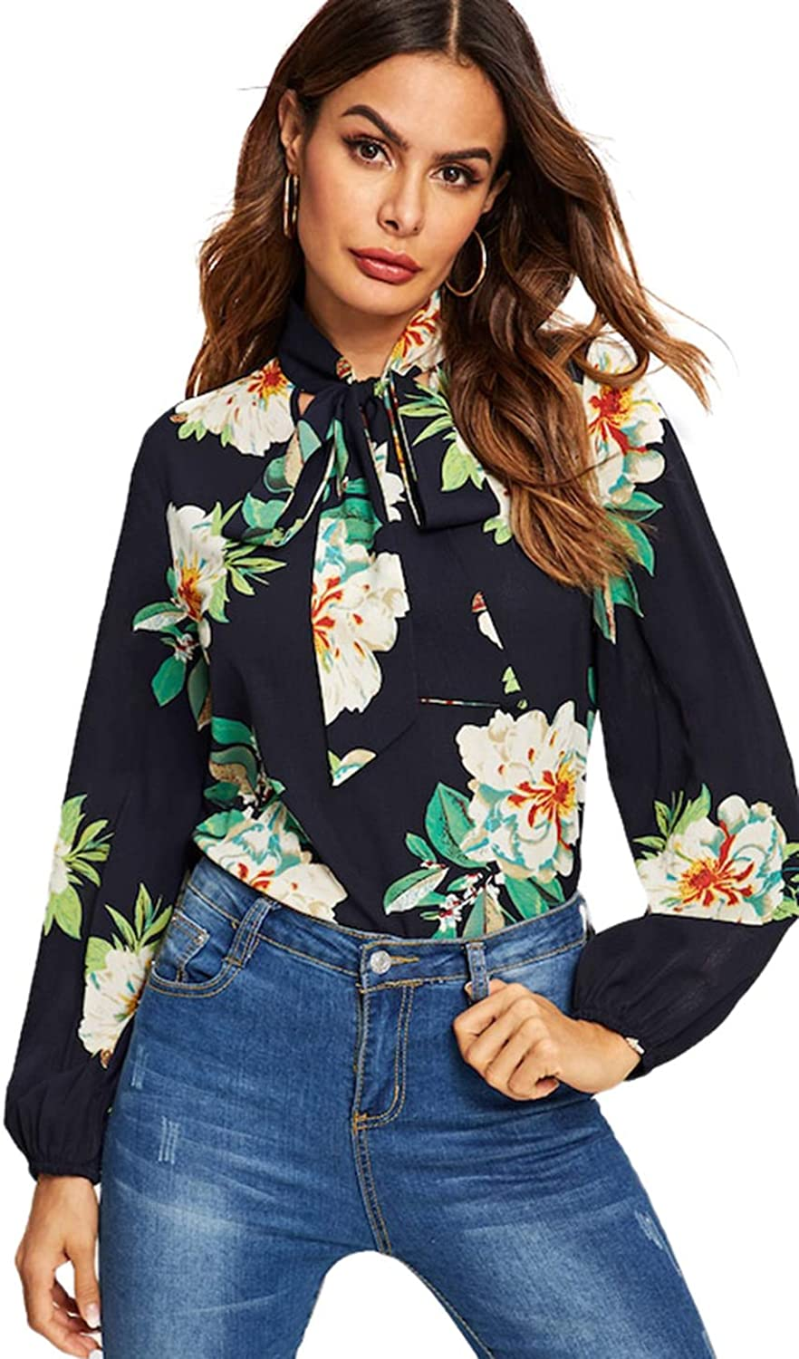 Romwe Women's Long Sleeve Floral Print Tie Neck Casual Blouse Top