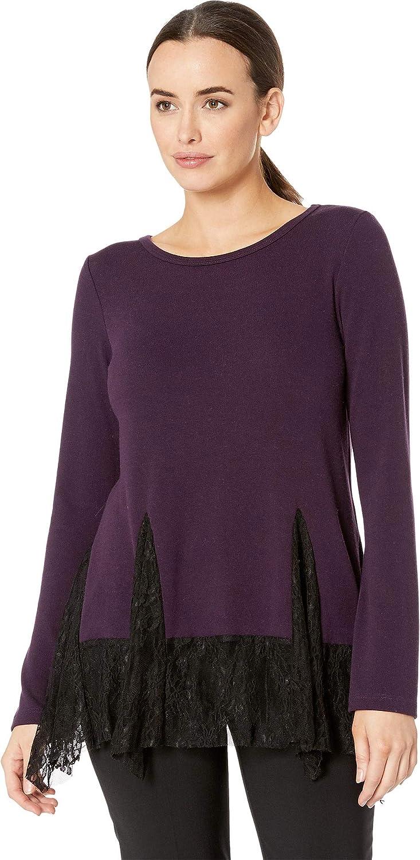 Karen Kane Womens Lace Inset Sweater